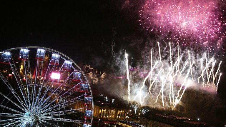 Fireworks light up the sky during the Hogmanay New Year celebrations in Edinburgh.