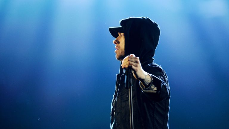 LONDON, ENGLAND - NOVEMBER 12: Eminem performs on stage during the MTV EMAs 2017 held at The SSE Arena, Wembley on November 12, 2017 in London, England. (Photo by Dave J Hogan/Getty Images for MTV)