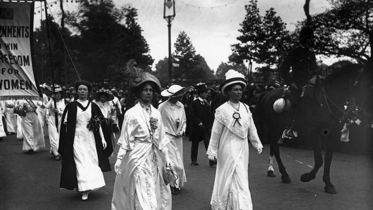 The suffragettes, including Emmeline Pankhurst (front l), are usually thought of as peaceful protesters