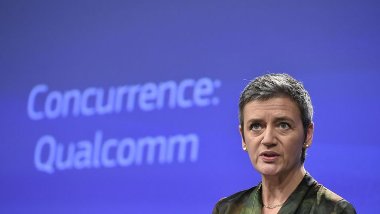 EU Competition Commissioner Margrethe Vestager gives a joint press conference at the EU Headquarters in Brussels, on January 25, 2018 as the EU hit US chipmaking giant Qualcomm with an antitrust fine of 997 million euros ($1.2 billion) for paying Apple to use its chips exclusively in iPhones and iPads. / AFP PHOTO / JOHN THYS (Photo credit should read JOHN THYS/AFP/Getty Images)
