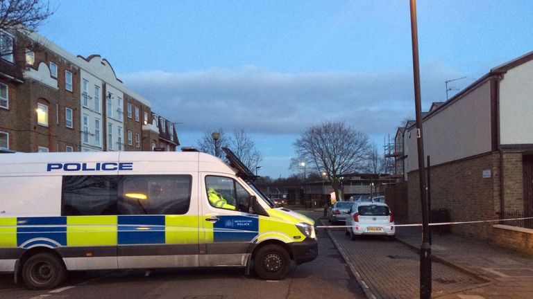 Police van at scene of fatal stabbing in West Ham, east London
