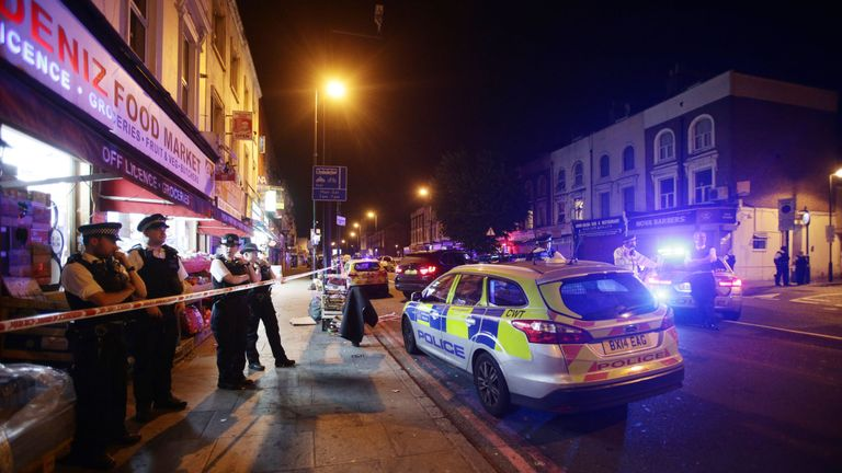 File photo dated 19/06/17 of a police cordon at Finsbury Park in north London, following an incident where Makram Ali, 51, was a victim of a terror attack causing his death