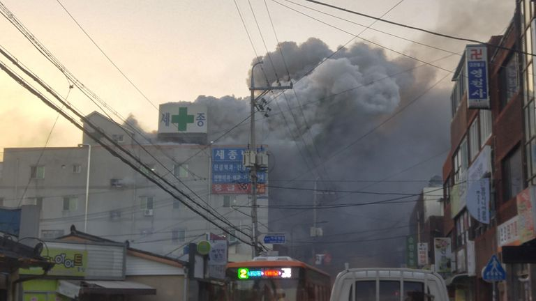 Smoke rises from the hospital building in South Korea