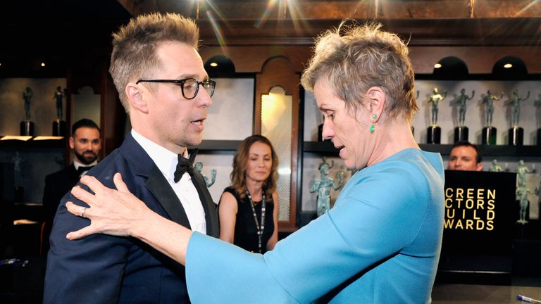 Rockwell and McDormand both won an award for their roles in Three Billboards