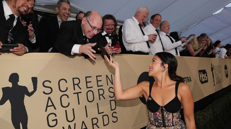 LOS ANGELES, CA - JANUARY 21: Actor Actor Gina Rodriguez attends the 24th Annual Screen Actors Guild Awards at The Shrine Auditorium on January 21, 2018 in Los Angeles, California. 27522_010 (Photo by Christopher Polk/Getty Images for Turner Image)