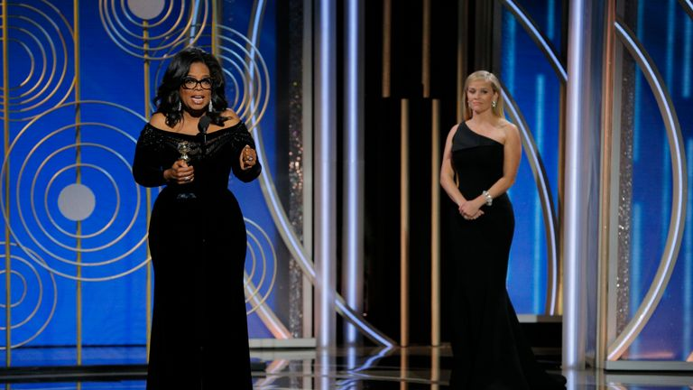 Oprah Winfrey delivered a rousing speech