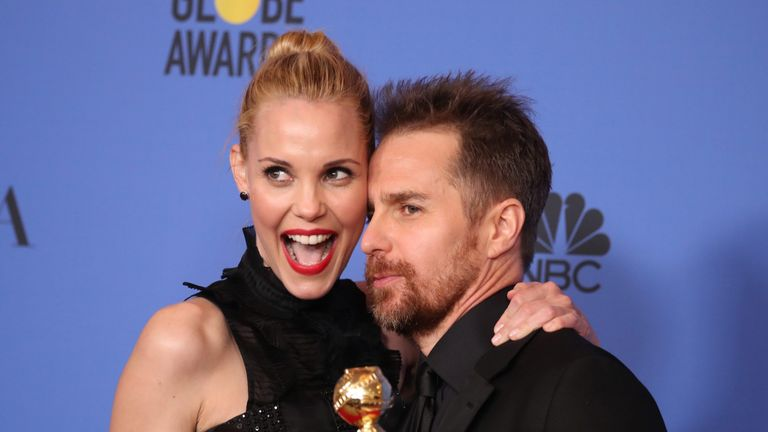Sam Rockwell embraces his wife Leslie Bibb