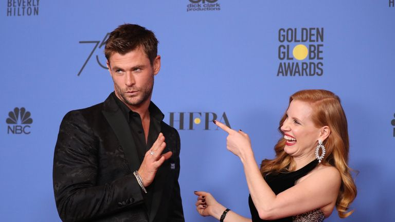 Presenters Chris Hemsworth and Jessica Chastain