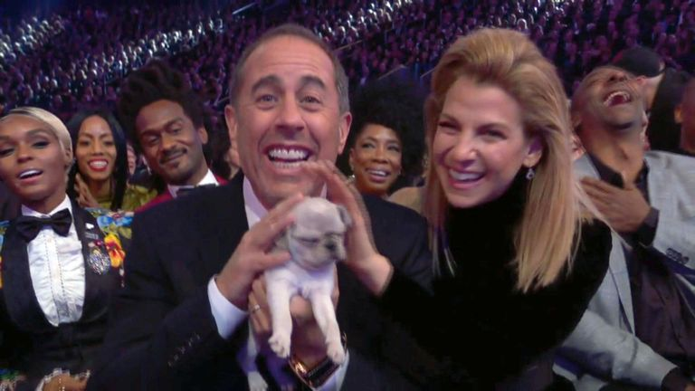 Jerry Seinfeld was handed a puppy after missing out on a Grammy Award. Pic: Grammys