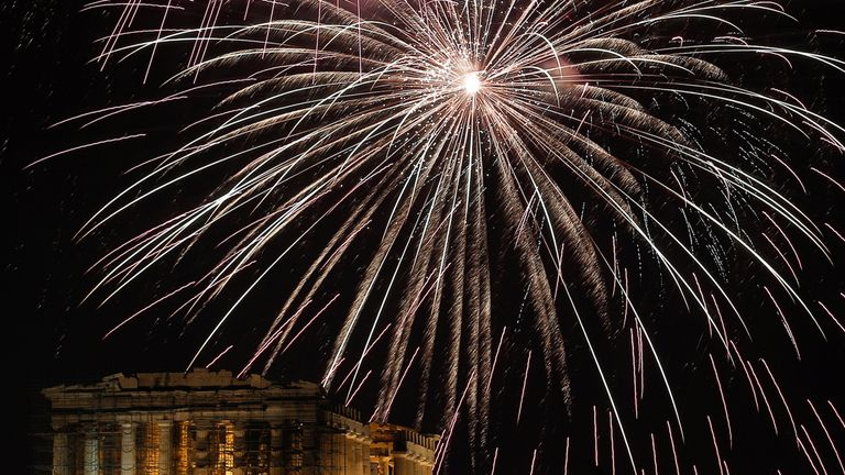 Fireworks explode over the ancient Parthenon temple atop the Acropolis hill during New Year's day celebrations in Athens, Greece, January 1, 2018