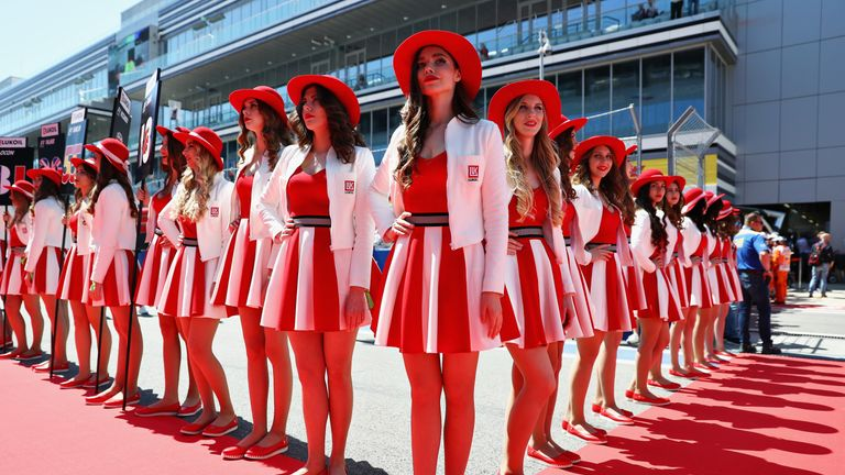 Grid girls line up during the Formula One Grand Prix in Russia