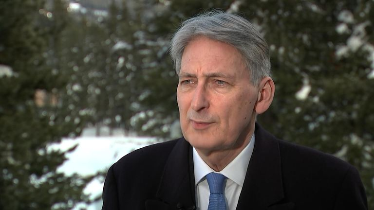 Philip Hammond was speaking in Davos