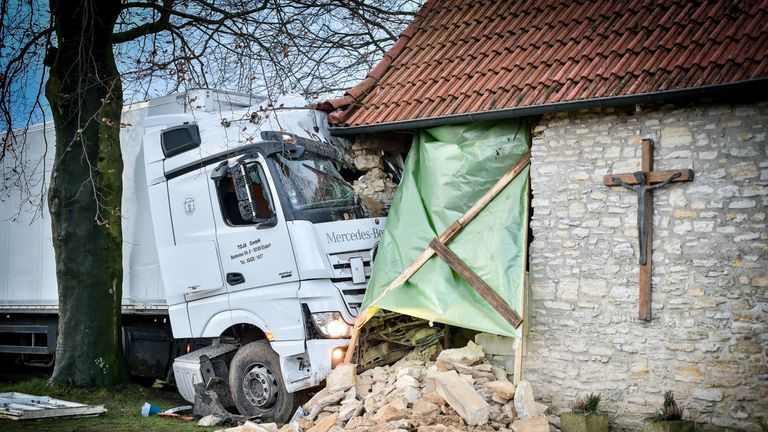 A truck crashed into a chapel in western Germany - possibly because of the weather