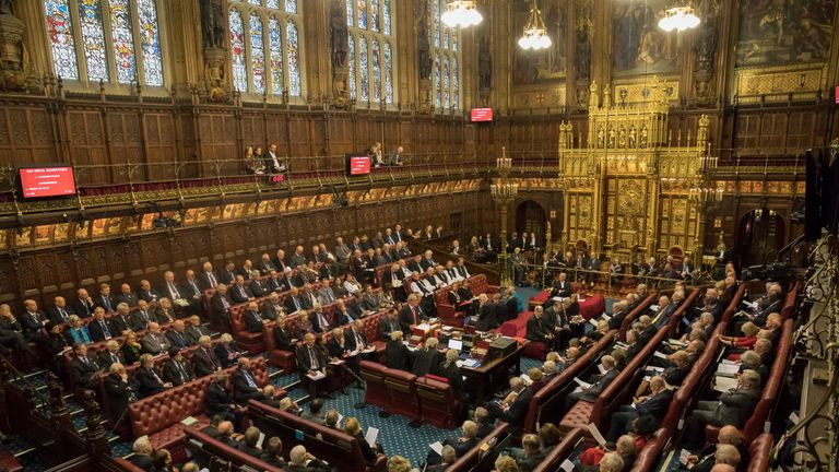 LONDON, ENGLAND - OCTOBER 31: The House of Lords chamber sits in session after Norman Fowler, the Lord Speaker delivered a report to members at the Houses of Parliament on October 31, 2017 in London, England.