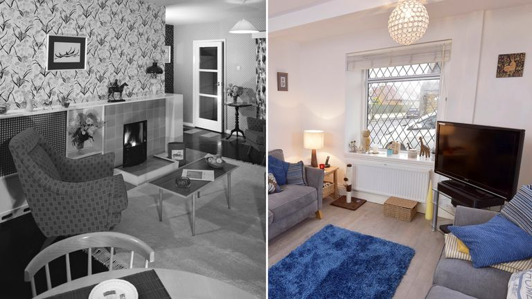 Sitting rooms in 1957 and in December 2017