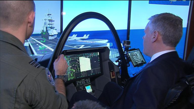 Ian King shows no sign of nerves as he takes the stick and attempts to be an F-35 Top Gun on an RAF simulator
