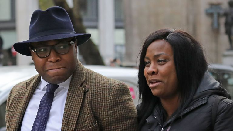 Isaiah Haastrup's mother Takesha Thomas and father Lanre Haastrup outside the High Court in London where a judge is expected this week to decide whether doctors should stop providing life-support treatment to their 11-month-old son being cared for at a London hospital