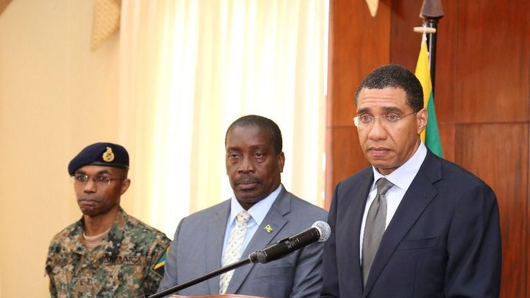 Jamaican PM Andrew Holness announces the state of emergency