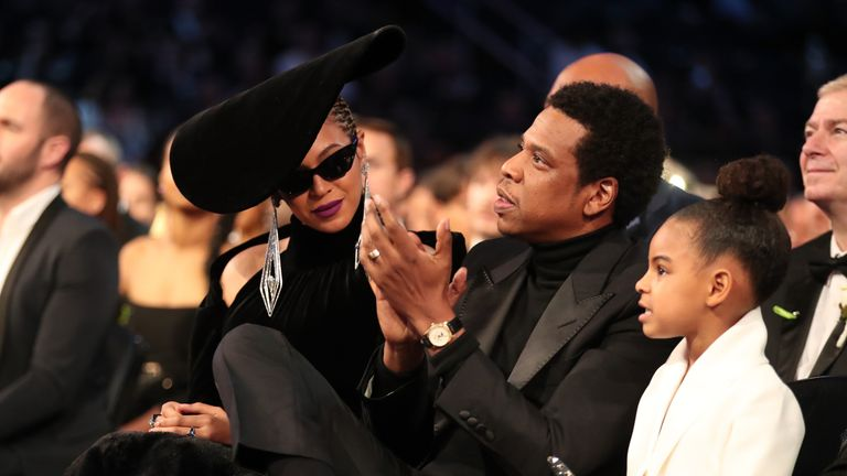 NEW YORK, NY - JANUARY 28: Recording artists Beyonce, Jay Z and daughter Blue Ivy Carter attend the 60th Annual GRAMMY Awards at Madison Square Garden on January 28, 2018 in New York City. (Photo by Christopher Polk/Getty Images for NARAS)