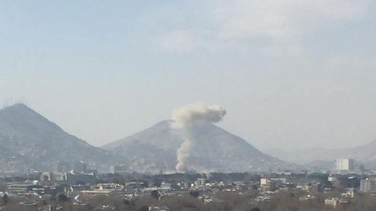 Smoke rises after a car bomb explosion in Kabul, Afghanistan. Pic: Naweed Ahmad Shakoori