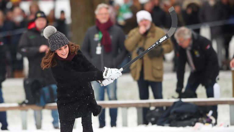 Catherine, the Duchess of Cambridge, visits a bandy ice rink during her official visit with Prince William in Stockholm, Sweden