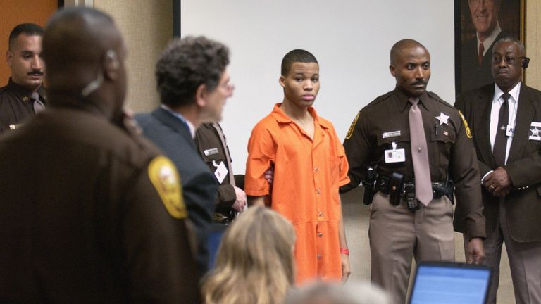 The shot of the 17-year-old in court in 2003