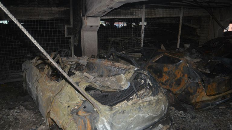 The scene after a blaze at a multi-storey car park near to the Echo Arena on Liverpool's waterfront