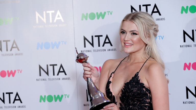 Lucy Fallon with her award for Best Serial Drama Performance