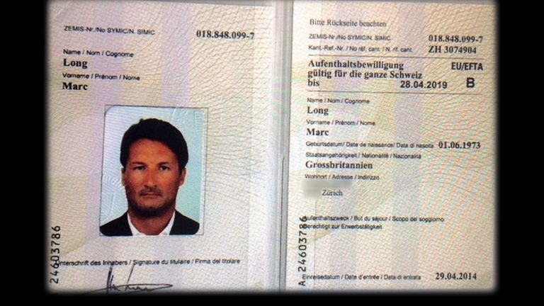 Mark Acklom applied for a Swiss residency permit as Marc Long