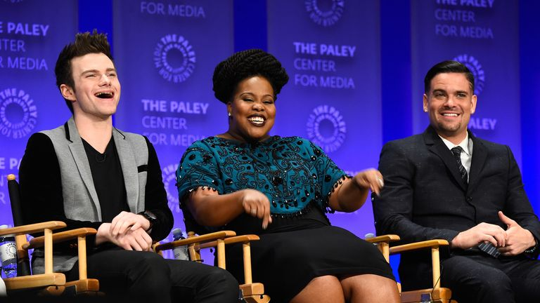 Salling (right) with Glee co-stars Chris Colfer and Amber Riley