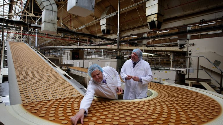 A quality check at a McVitie's factory in Stockport