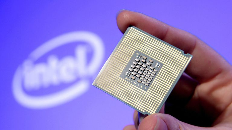 SAN FRANCISCO, CA - JUNE 26: In this handout photo provided by Intel, Tom Kilroy, vice president of Intel?s Digital Enterprise Group, displays Intel's new Dual-Core Xeon Processor 5100 on June 26, 2006 at an event in San Francisco. Available for high-volume servers, workstation and communications markets, the 64-bit processor is based on the Intel Core Microarchitecture for increased performance with reduced energy consumption. (Photo by Court Mast/Intel via Getty Images)