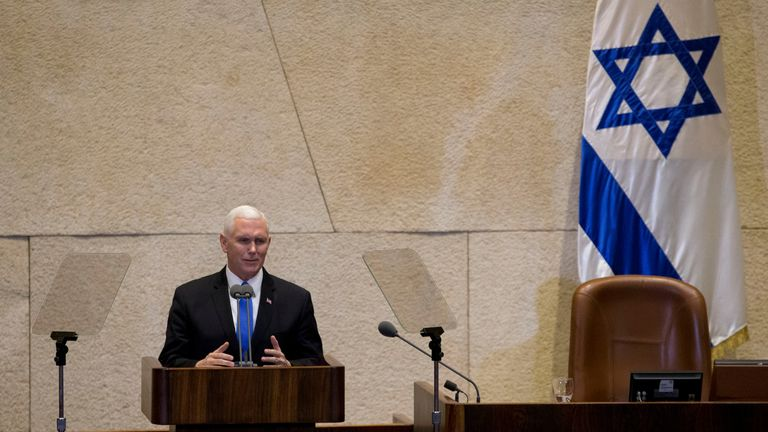 Mike Pence addresses israel's parliament announcing the US embassy will move to jerusalem in 2019