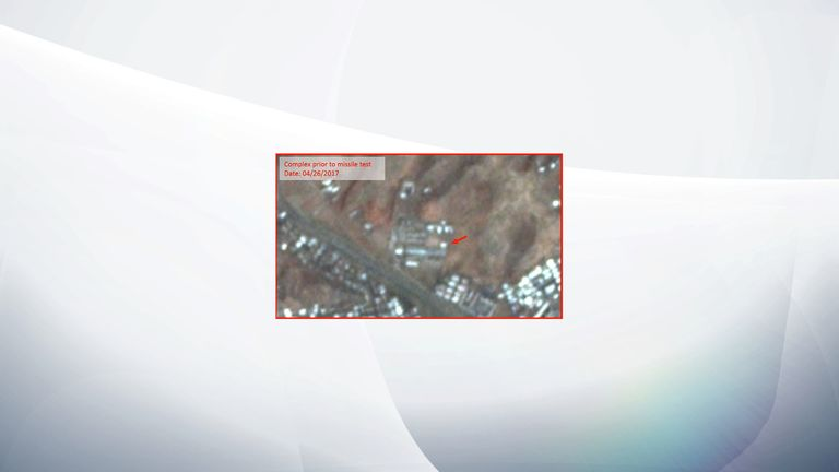 The complex prior to and after the missile test, corroborating the reports that debris from the failed missile test struck a portion of this complex. Source: Planet Labs/The Diplomat