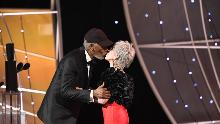 LOS ANGELES, CA - JANUARY 21: Actors Rita Moreno (L) and Morgan Freeman onstage during the 24th Annual Screen Actors Guild Awards at The Shrine Auditorium on January 21, 2018 in Los Angeles, California. 27522_009 (Photo by Dimitrios Kambouris/Getty Images for Turner Image)