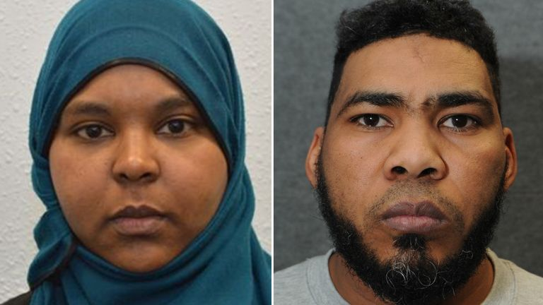 Custody images of Munir Mohammed and Rowaida el-Hassan who are accused of plotting a Christmas bomb attack directed by ISIS