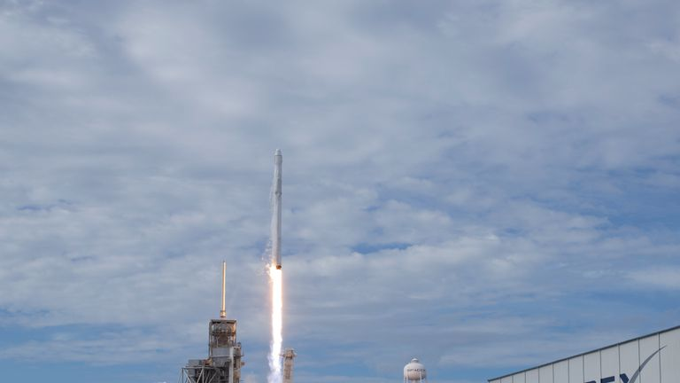 The SpaceX Falcon 9 rocket, with the Dragon spacecraft onboard, launches from pad 39A at NASA...s Kennedy Space Center in Cape Canaveral, Florida, Saturday, June 3, 2017. Dragon is carrying almost 6,000 pounds of science research, crew supplies and hardware to the International Space Station in support of the Expedition 52 and 53 crew members. The unpressurized trunk of the spacecraft also will transport solar panels, tools for Earth-observation and equipment to study neutron stars. This will be the 100th launch, and sixth SpaceX launch, from this pad. Previous launches include 11 Apollo flights, the launch of the unmanned Skylab in 1973, 82 shuttle flights and five SpaceX launches. Photo Credit: (NASA/Bill Ingalls)