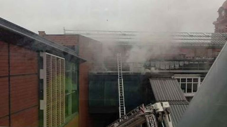 Smoke escapes from the building. Pic: @nottsfire