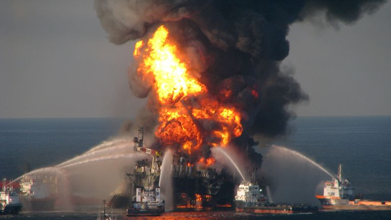 Fire boat response crews battle the blazing remnants of the Deepwater Horizon rig