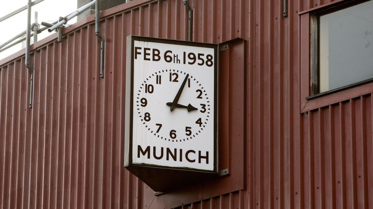 The Munich clock at Old Trafford reads 3.04pm, the time that the plane crashed on Feb. 6th 1958
