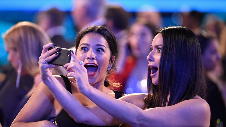 LOS ANGELES, CA - JANUARY 21: Actors Gina Rodriguez (L) and Olivia Munn (R) during the 24th Annual Screen Actors Guild Awards at The Shrine Auditorium on January 21, 2018 in Los Angeles, California. (Photo by Kevork Djansezian/Getty Images)