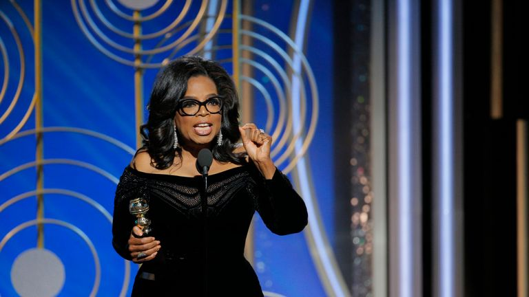 Oprah Winfrey accepts the 2018 Cecil B. DeMille Award at the Golden Globes