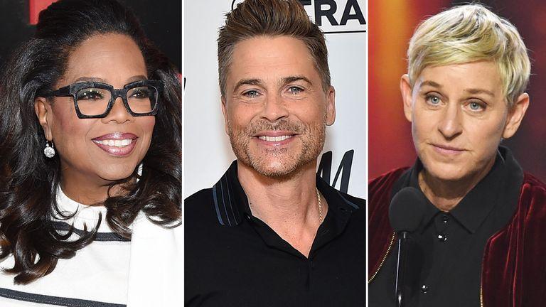 Oprah Winfrey, Rob Lowe and Ellen Degeneres