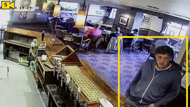 Osborne at the bar of the pub in Cardiff. Pic. Met Police