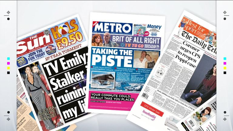 Wednesday's national newspaper front pages | UK News | Sky News