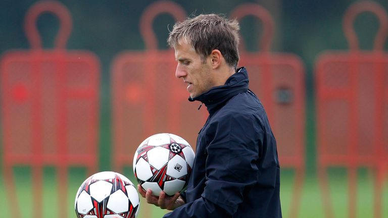 Phil Neville during a Manchester United training session