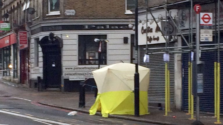 Police tent at scene of stabbing in Tulse Hill