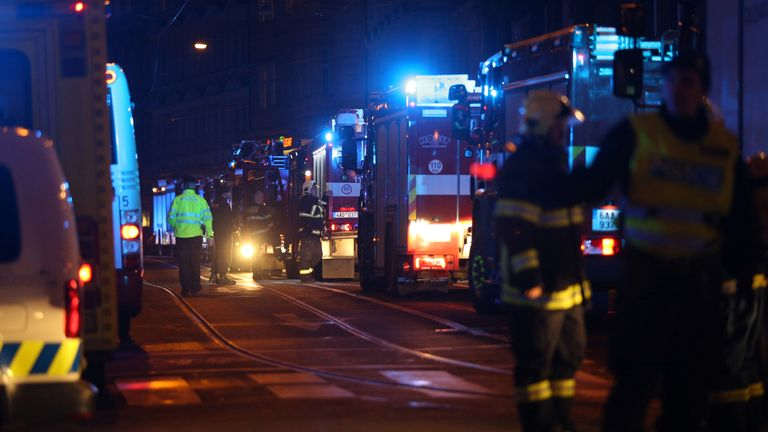 Firefighters worked to get the fire at Prague's Eurostars David Hotel under control
