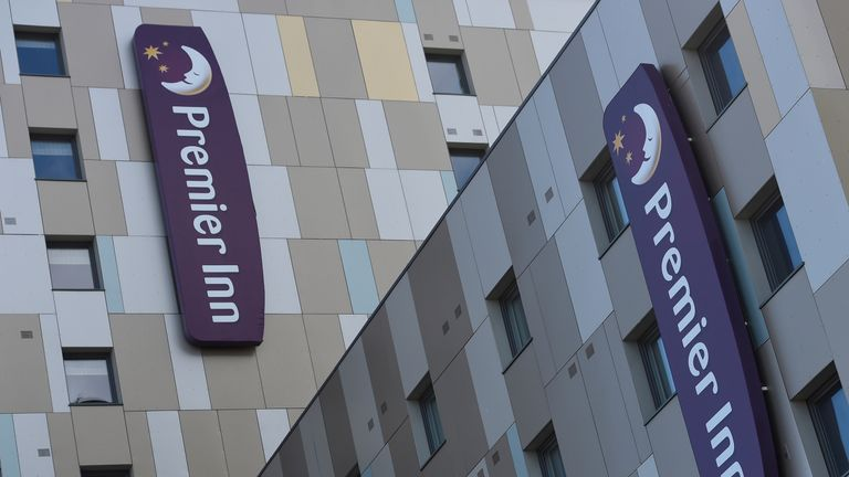Signage for Premier Inn is seen on the outside of one of their hotels in London, Britain, March 30, 2016.