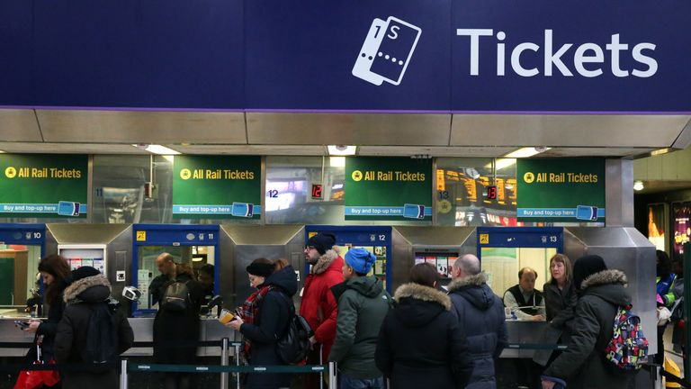 Commuters wait at Victoria station, London, after New Year price rise on January 2 2018
